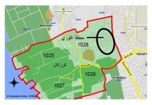 مجمع 1026 في كرزكان الذي قسم<br />لثلاثة مجمعات مستحدثة تحت<br />مسمى «اللوزي» التي تنتمي<br />لقرية كرزكان في الأصل