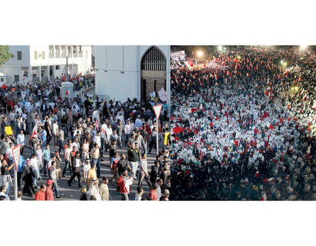 جماهير حاشدة في «تجمع الوحدة الوطنية» بمركز الفاتح مساء أمس   (تصوير: عقيل الفردان)