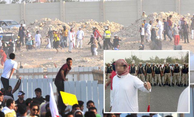 قوات مكافحة الشغب تطلق مسيلات الدموع لفض مسيرة الديوان الملكي أمس...  وفي الإطار شخص يحمل السيف مهدداً المحتجين