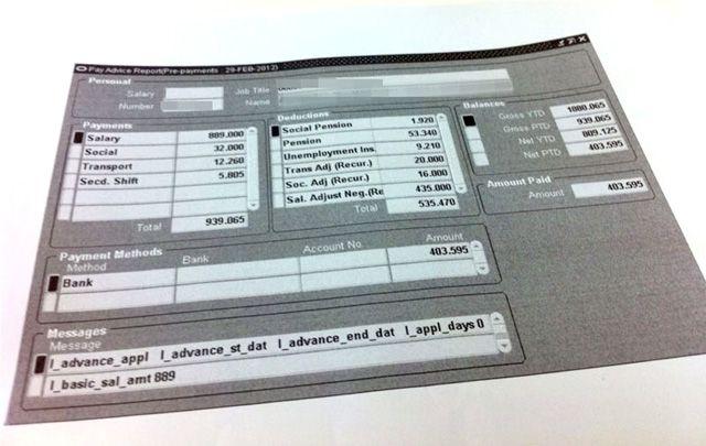 شهادة راتب أحد الموظفين لشهر فبراير واستقطاعات تصل إلى قرابة 500 دينار