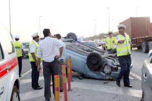 انقلاب سيارة في حادث تصادم... ولا إصابات