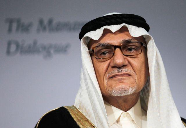 الأمير تركي الفيصل خلال حديثه في منتدى «حوار المنامة» أمس  - REUTERS
