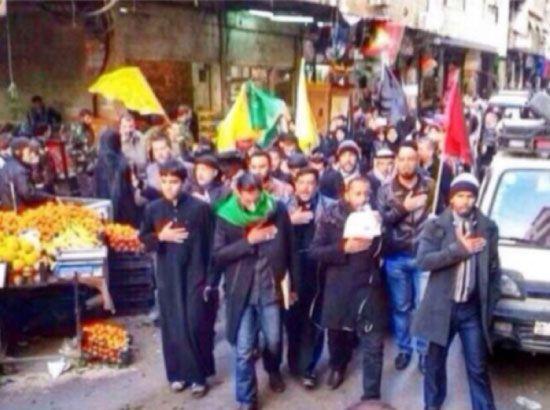الرادود عبدالأمير البلادي يقود موكب العزاء بحي السيدة في دمشق
