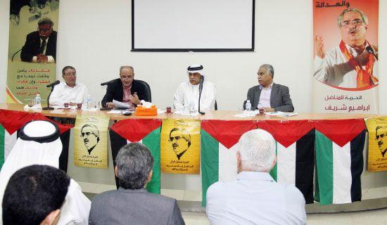 المتحدثون في الندوة (من اليمين): رضي الموسوي، مدير الندوة، عبدالجليل خليل، حسن العالي