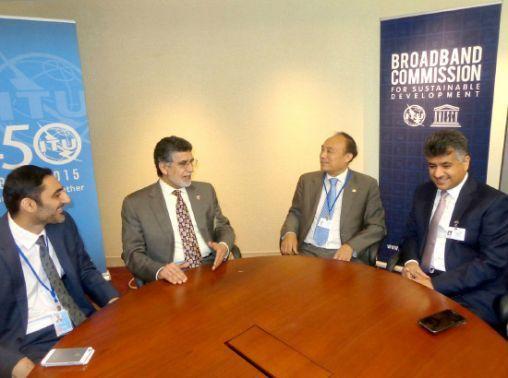 وفد البحرين مجتمعاً مع رئيس<br />الاتحاد الدولي للاتصالات