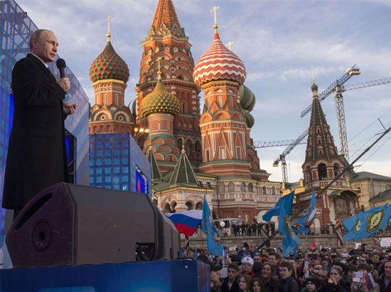 الرئيس الروسي فلاديمير بوتين يلقي كلمة في حفل