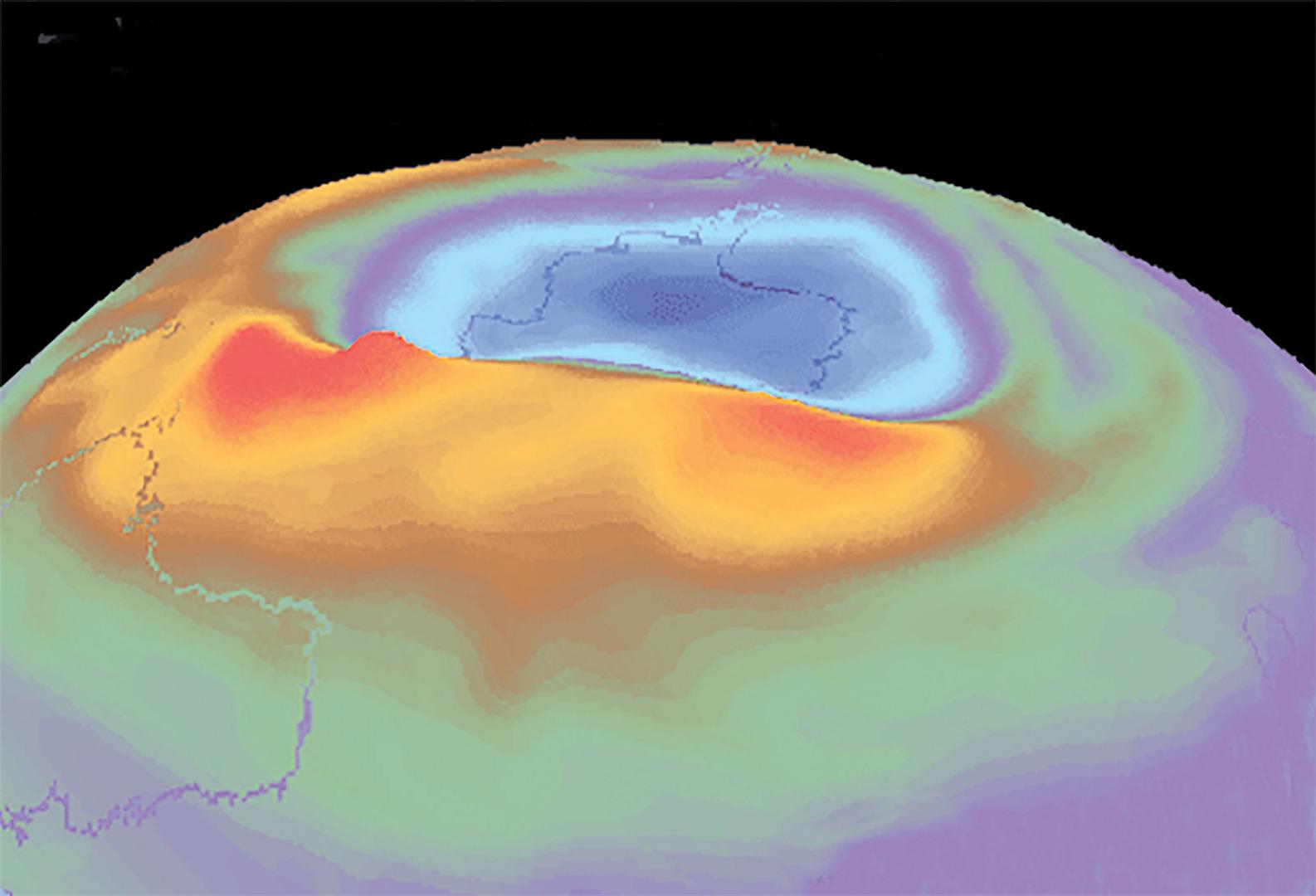 يتباين حجم ثقب الأوزون الذي يظهر فوق القارة القطبية الجنوبية