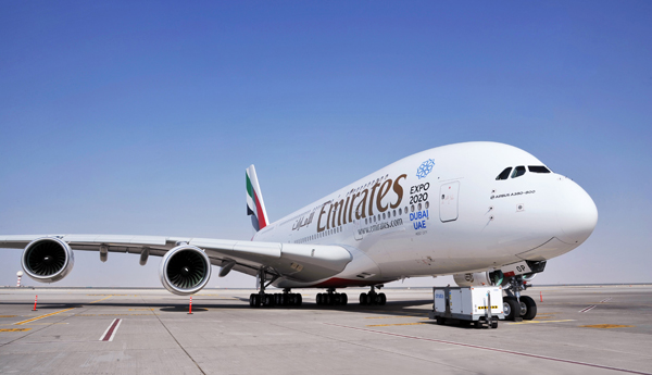 طائرة الإيرباص A380 التابعة لطيارن الإمارات