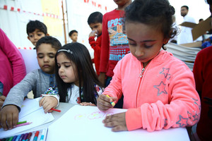 بالصور..  معرض فني لأطفال أصحاب الطلبات الاسكانية بكرزكان