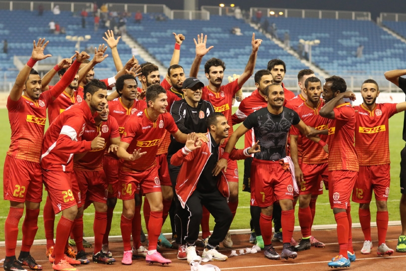 فرحة لاعبي المحرق بالتأهل للنهائي - تصوير محمد المخرق