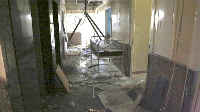 احد المستشفيات التي تعرض للقصف في سورية جراء الحرب