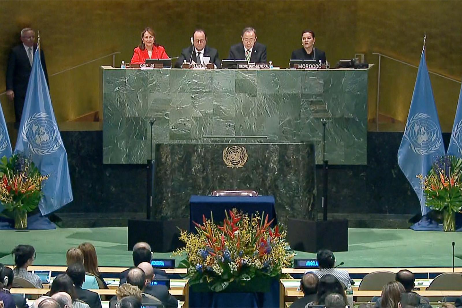 صورة ارشيفية لأحد اجتماعات الجمعية العامة للأمم المتحدة في حفل توقيع اتفاقية باريس للتغير المناخي