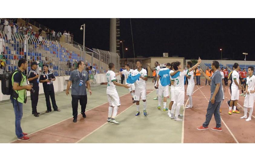 فرحة لاعبي المنتخب السعودي بالفوز والتأهل للنهائي
