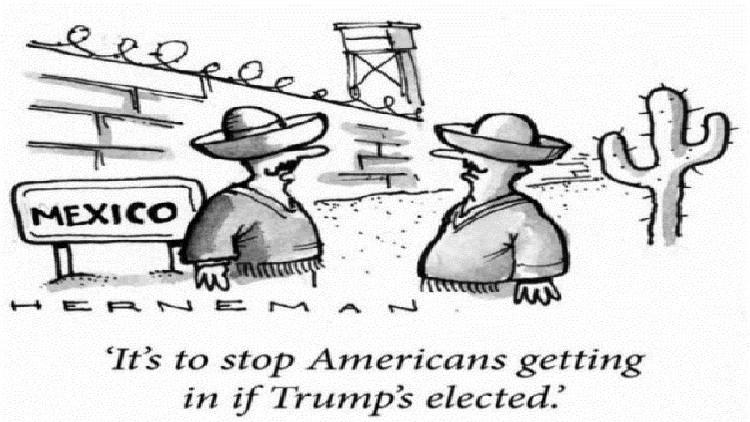 رسم ساخر يتناول بناء المكسيكيين جدارا فاصلا على الحدود بين بلادهم والولايات المتحدة لمنع تسلل الأمريكيين إليها هربا من ترامب لحظة تسلمه الرئاسة.