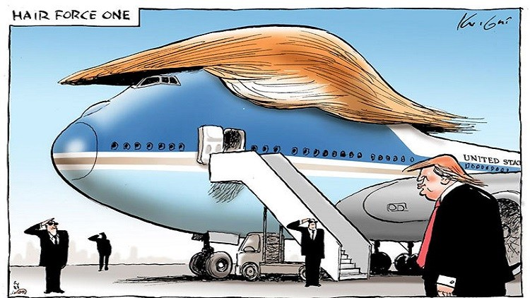 طائرة الرئاسة الأمريكية وما ستؤول إليه عند استلام ترامب السلطة في سخرية من تسريحة ترامب الشهيرة.