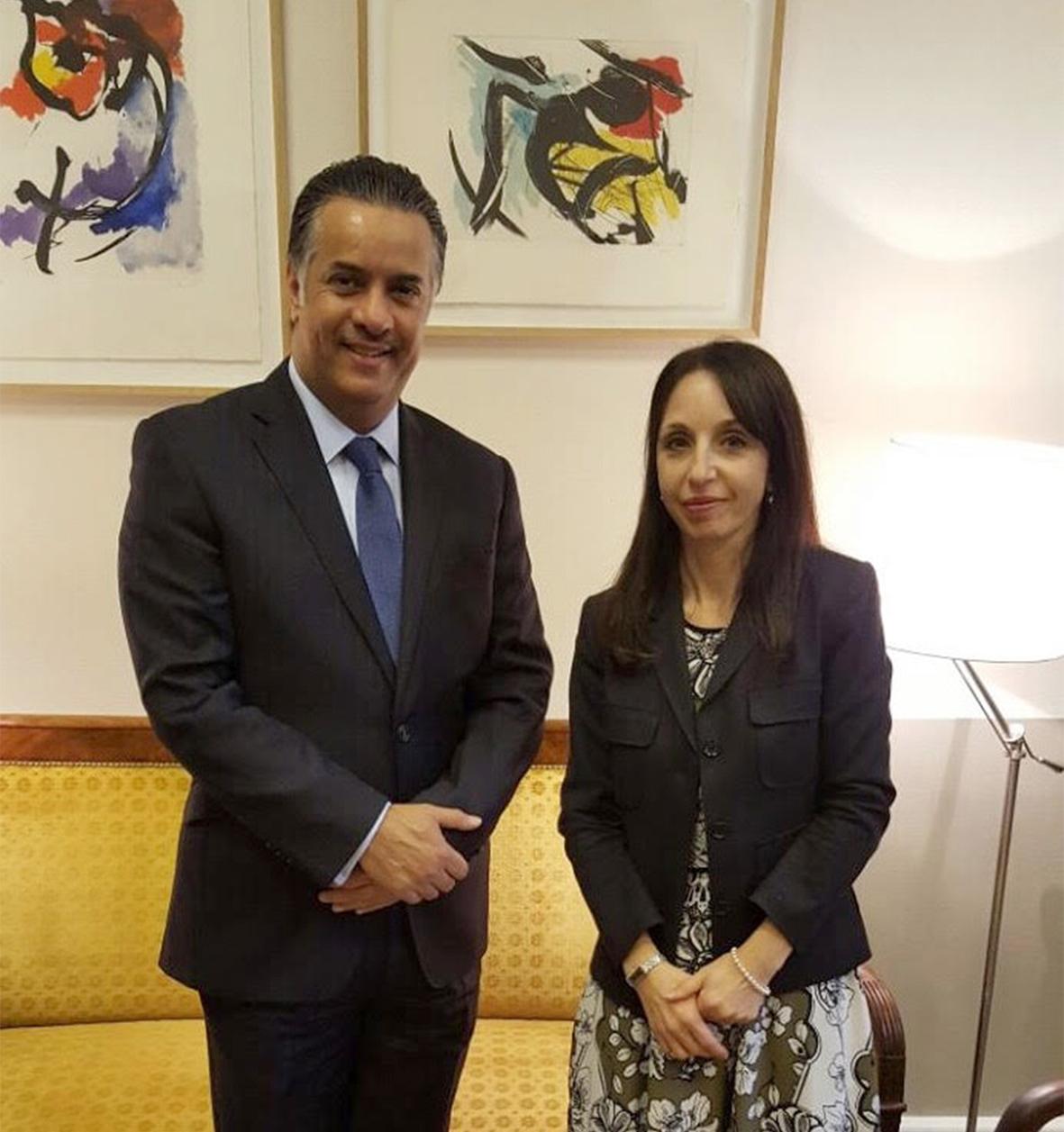 مساعد وزير الخارجية ملتقياً السفيرة المسئولة عن حقوق الإنسان بوزارة الخارجية الفرنسية باتريتزيانا