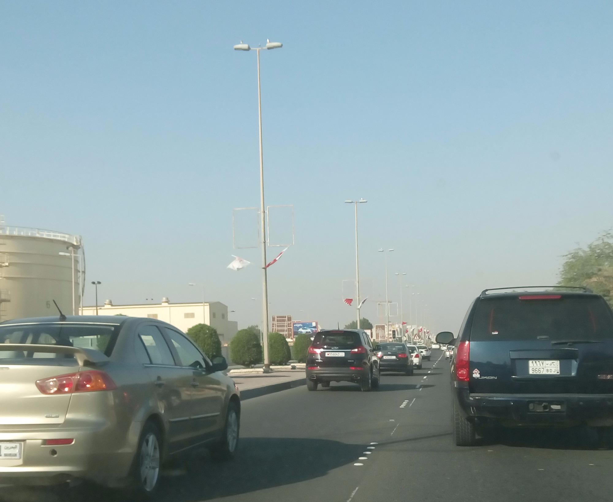 الازدحامات المرورية على شارع الرفاع باتجاه مدينة حمد