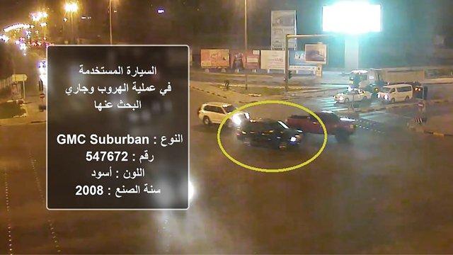صورة عممتها وزارة الداخلية تظهر السيارة التي استخدمت في عملية الهروب