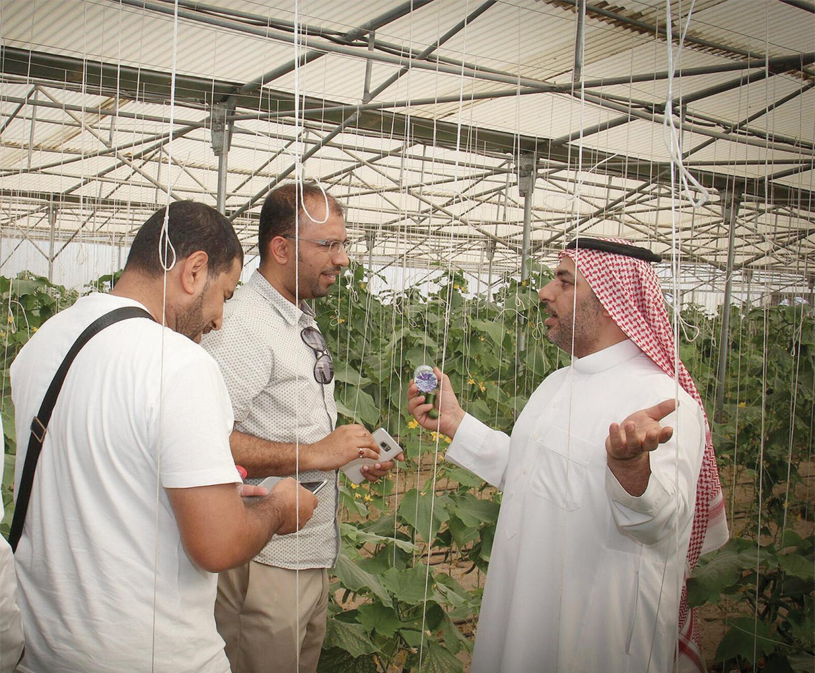 رئيس مركز الإرشاد الزراعي للمزرعة المتكاملة عيسى سلطان خلال زيارة المحمية النباتية
