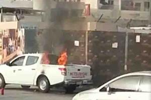 بالفيديو...إخماد حريق اندلع بسيارة رش المبيدات الحشرية في منطقة البحير