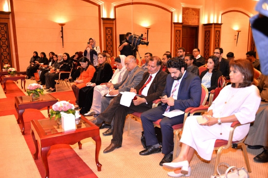 الحضور في المؤتمر الصحافي أمس - تصوير أحمد آل حيدر