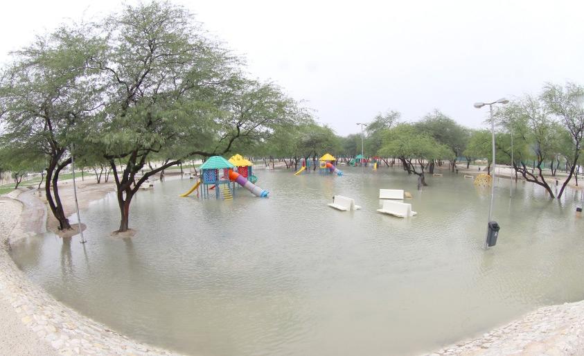 مياه الأمطار تغمر حديقة ومنتزه الحنينية