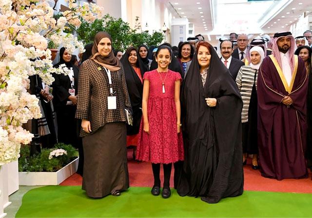 قرينة عاهل البلاد لدى تدشينها معرض البحرين الدولي للحدائق 2017 أمس