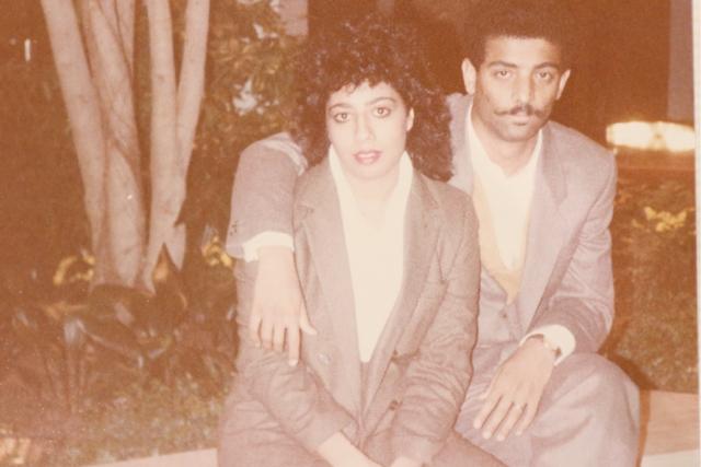 إلهام حسن في عمر 20 سنة مع زوجها محمد العنزور