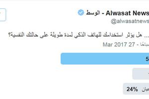 تصويت 'الوسط': 57 % يرون أن استخدام الهاتف الذكي يؤثر على الحالة النفسية