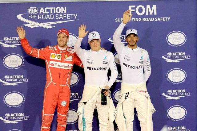أصحاب المراكز الأولى للانطلاق في سباق «جائزة البحرين»- تصوير : أحمد آل حيدر