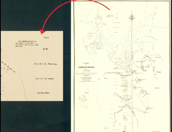 الخريطة التي حدّد عليها Whish موقع قلعة الجارم العام 1862م (السليطي 2009)
