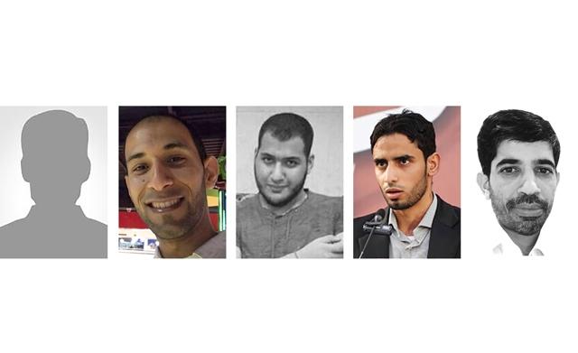 خمسة فارقوا الحياة في أحداث الدراز من اليمين: محمد كاظم ناصر، محمد علي أحمد، محمد أحمد حمدان، أحمد جميل العصفور ومجهول